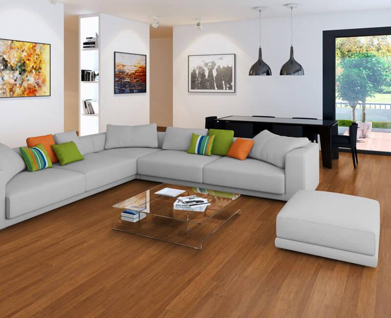 Wohnzimmer mit Bambusparkett