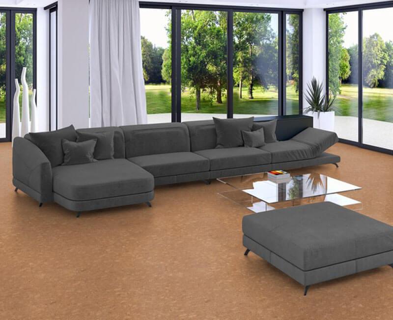 Wohnzimmer mit Korkboden